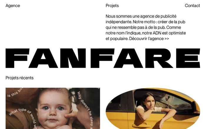 Screenshot of Fanfare Creative Agency website