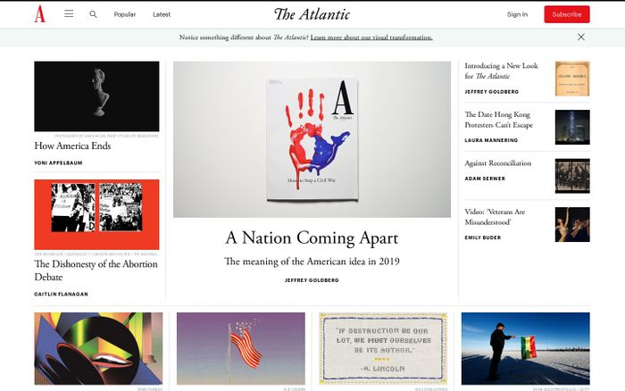 Screenshot of The Atlantic website