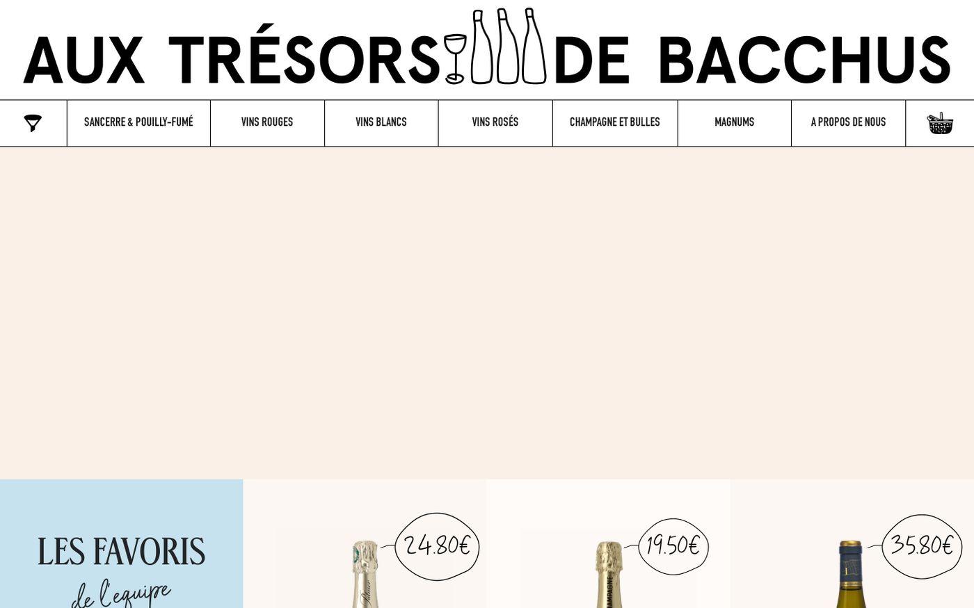 Screenshot of Trésors de Bacchus website