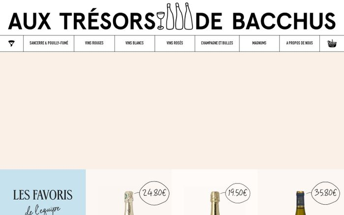 Screenshot of Trésors de Bacchus website