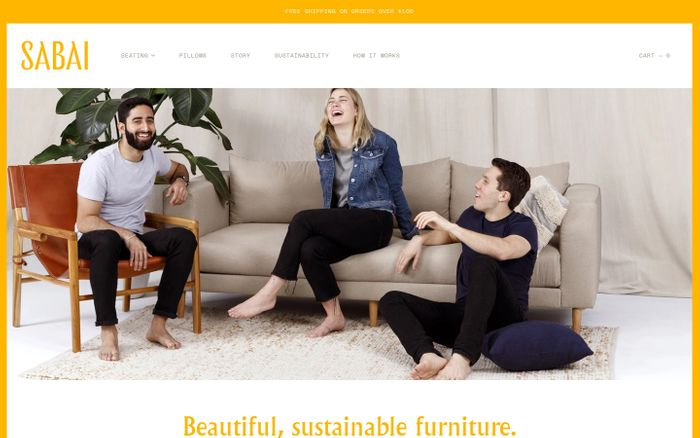 Screenshot of Sabai Design: Affordable, Sustainable & Convenient Furniture