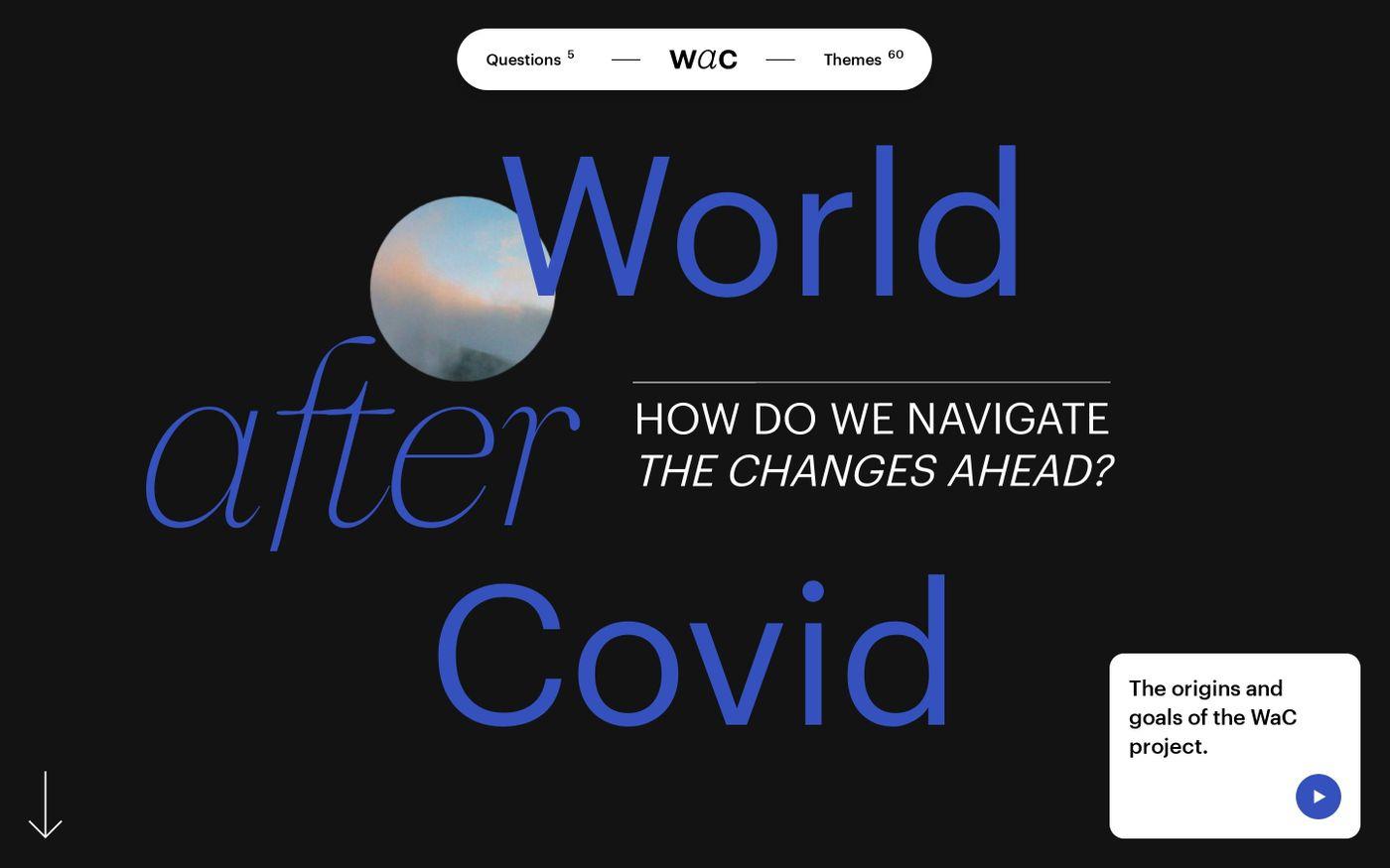 Screenshot of World After Covid website