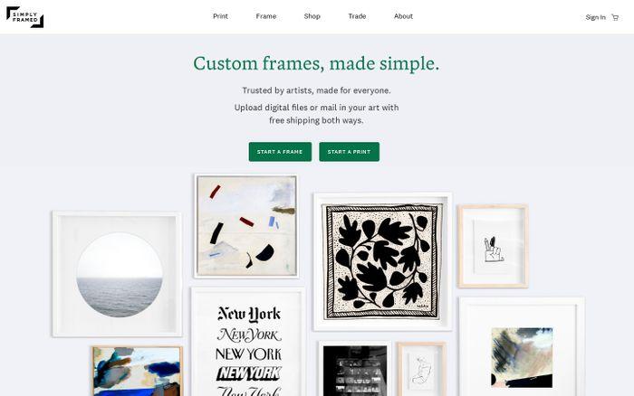 Screenshot of Simply Framed — Custom frames, made simple