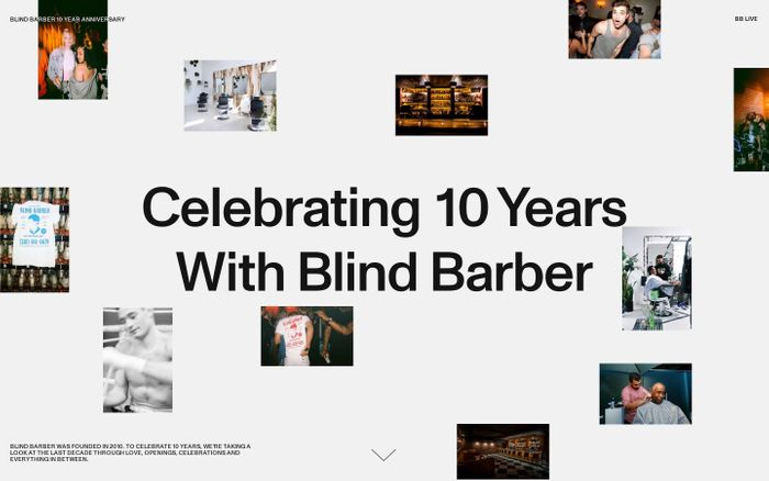 Screenshot of Blind Barber anniversary website