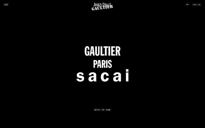 Screenshot of Gaultier Paris by Sacai website