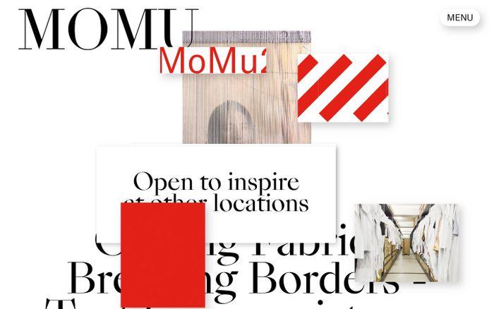Screenshot of MoMu Antwerp website