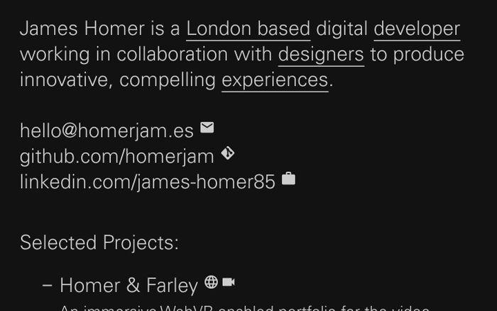 Screenshot of James Homer — developer and digital art director