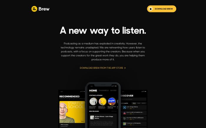 Screenshot of Brew Podcast App — Support the creators you listen to