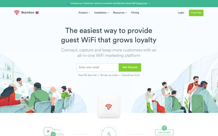 Screenshot of Guest WiFi Marketing for Small Business | Beambox