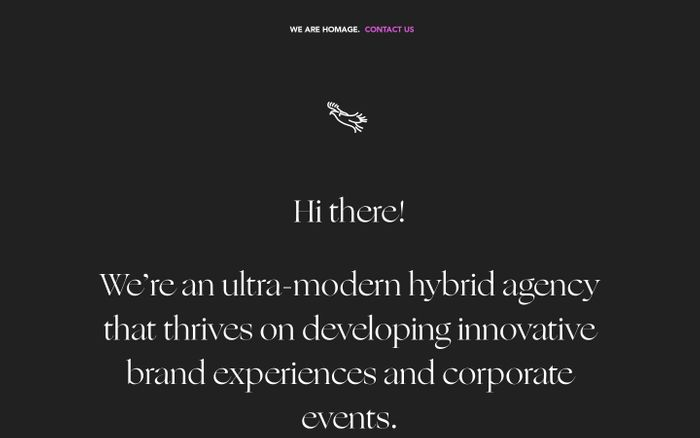 Screenshot of Homage | Developing innovative brand experiences