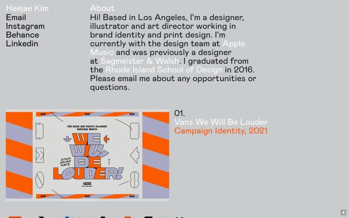 Screenshot of HeeJae Kim website