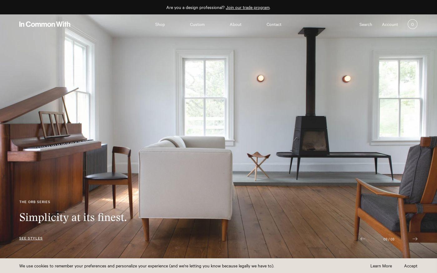 Screenshot of In Common With website
