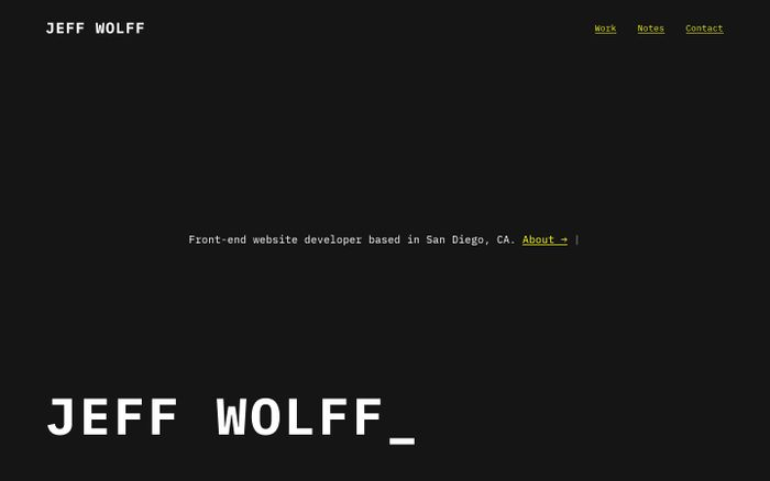Screenshot of Jeff Wolff - Web Developer & UI Designer