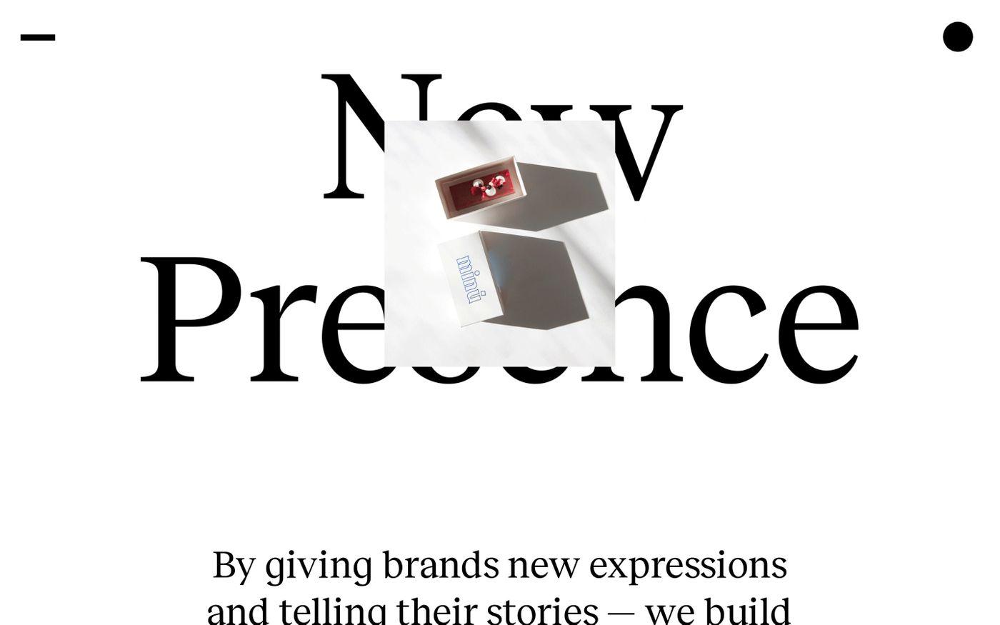 Screenshot of New Presence website