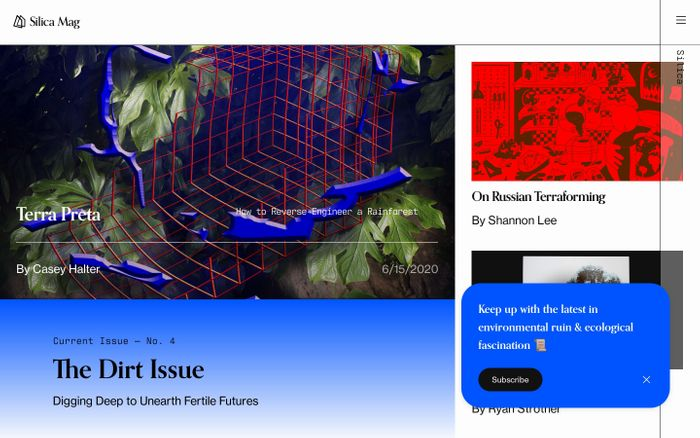 Screenshot of Silica Mag — A field guide to the digital Anthropocene