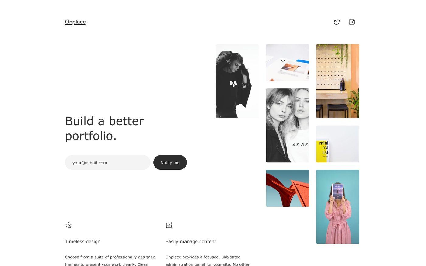 Screenshot of Onplace – build a better portfolio. website