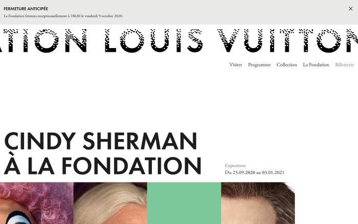 Screenshot of Fondation Louis Vuitton website