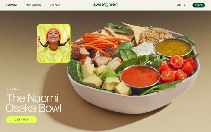 Screenshot of Sweetgreen website