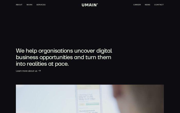 Screenshot of Umain website