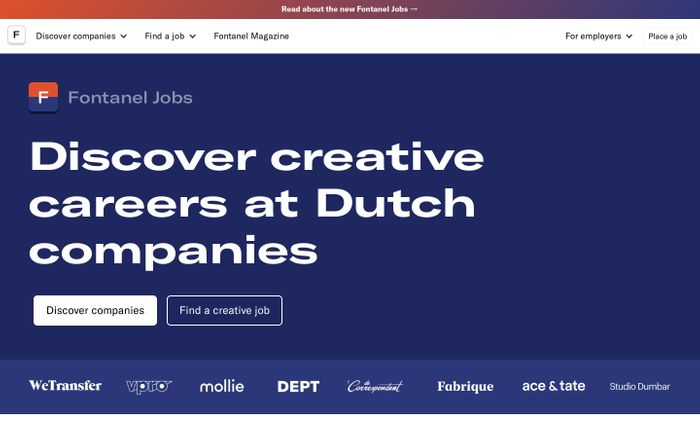 Screenshot of Fontanel Jobs: Creative careers at Dutch companies