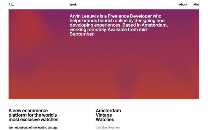 Screenshot of Arvin Leeuwis website