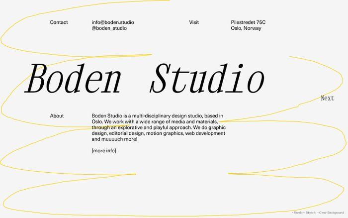 Screenshot of Boden Studio website