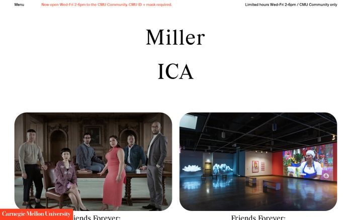 Screenshot of Miller Institute for Contemporary Art website