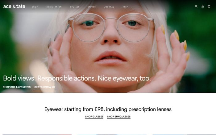 Screenshot of Prescription glasses online from £98 | Ace & Tate