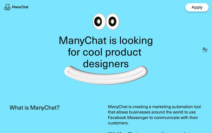 Screenshot of ManyChat needs designers