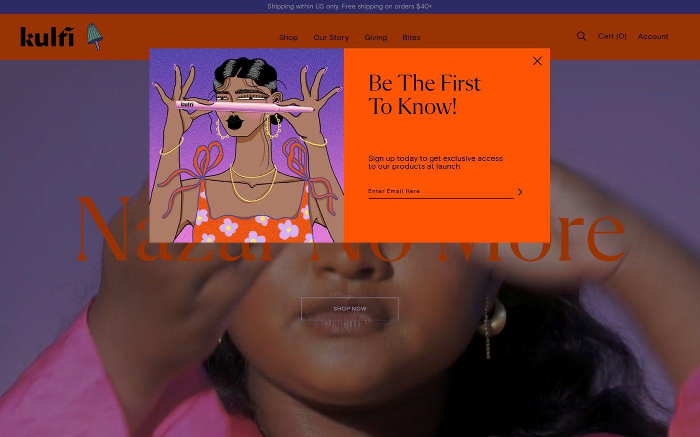 Screenshot of Kulfi beauty website