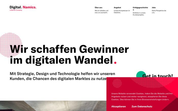 Screenshot of Namics – Digitalagentur ✓ Fullservice ✓ Seit 1995 ✓