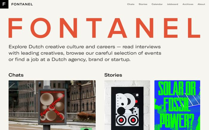 Screenshot of FONTANEL — Explore Dutch creative culture and careers