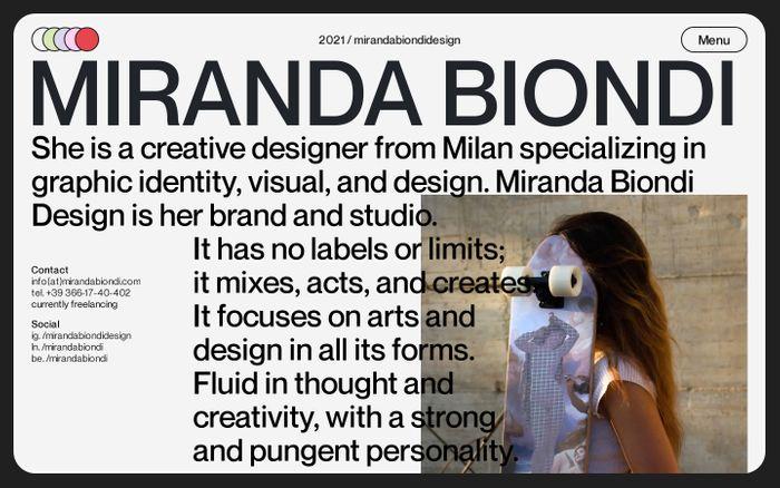 Screenshot of Miranda Biondi website
