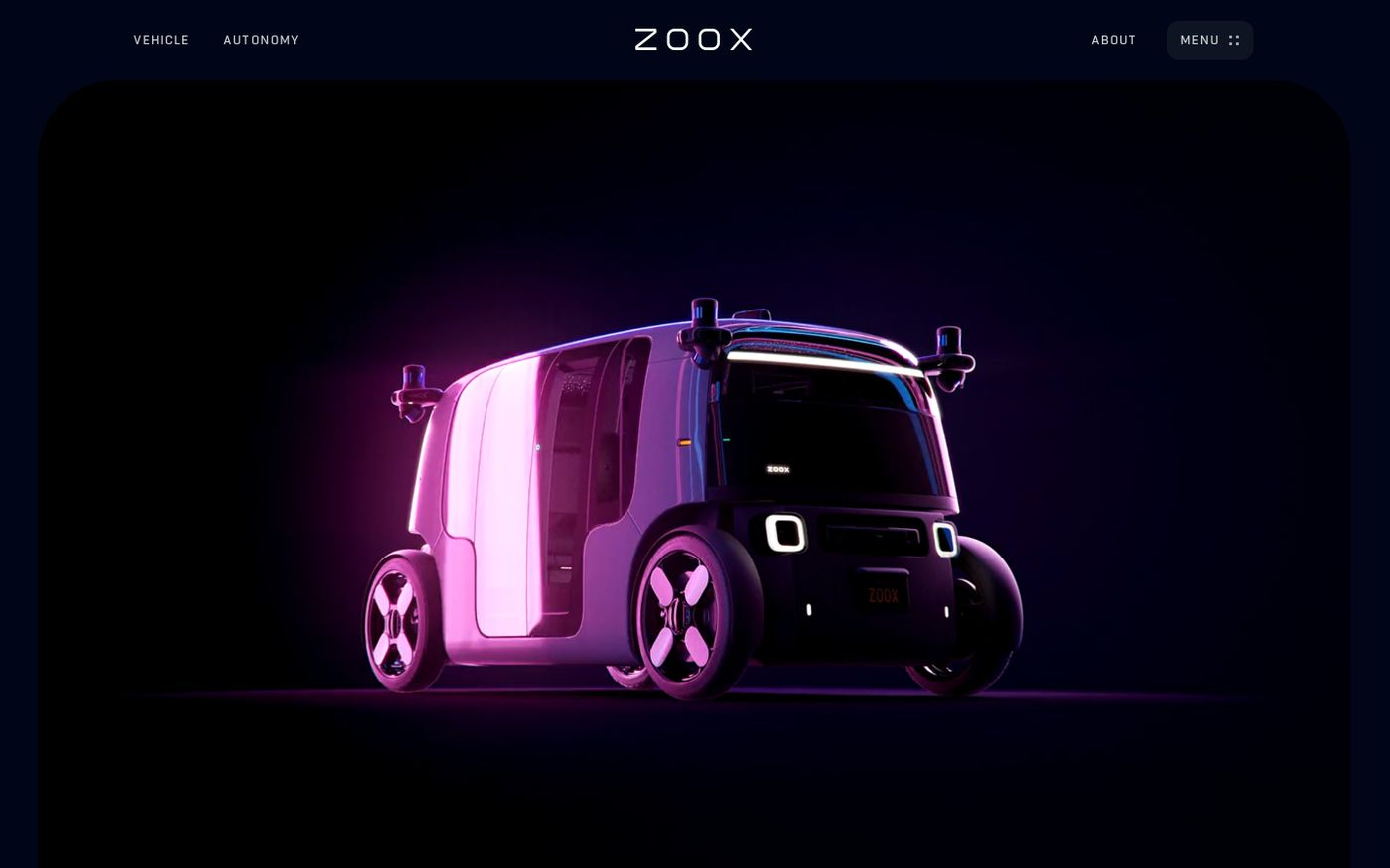 Screenshot of Zoox website