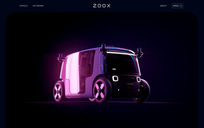Screenshot of Zoox website
