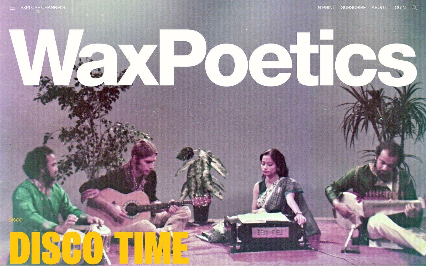 Screenshot of Wax Poetics website