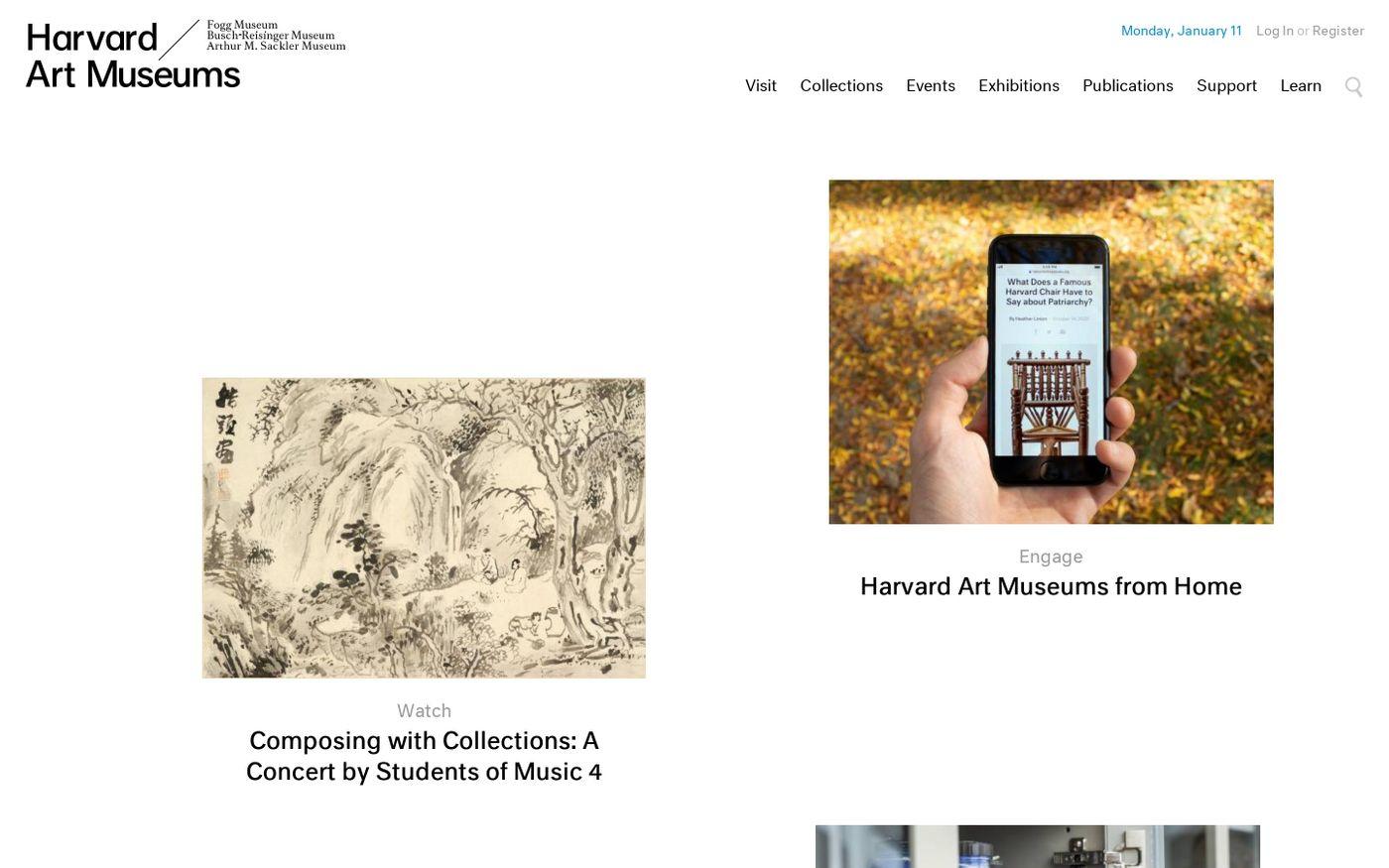 Screenshot of Homepage | Harvard Art Museums website
