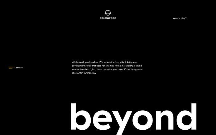 Screenshot of abstraction · game development studios · beyond boundaries