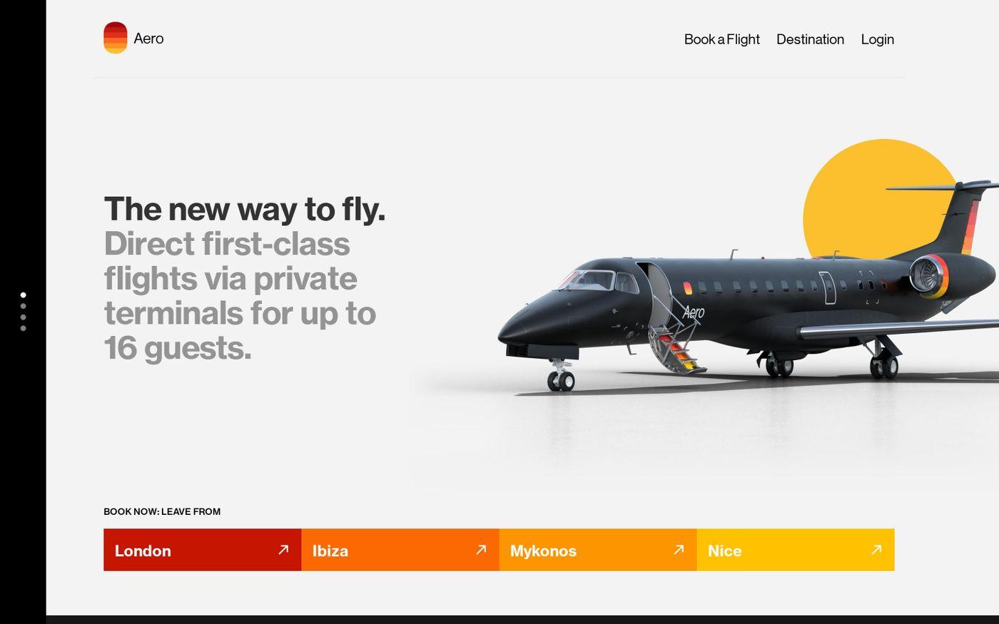 Screenshot of Aero website