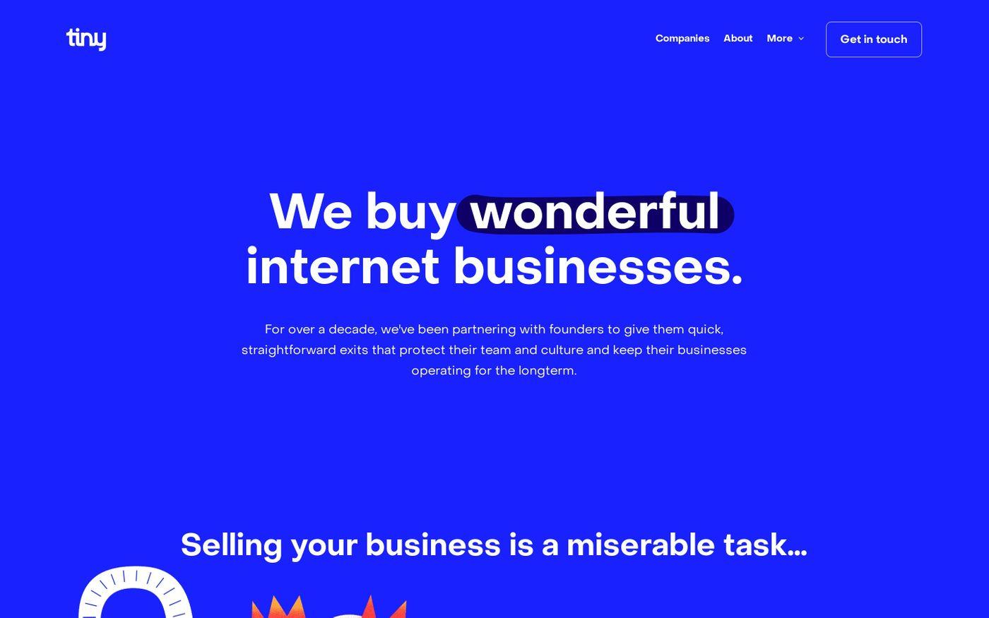 Screenshot of Tiny capital website