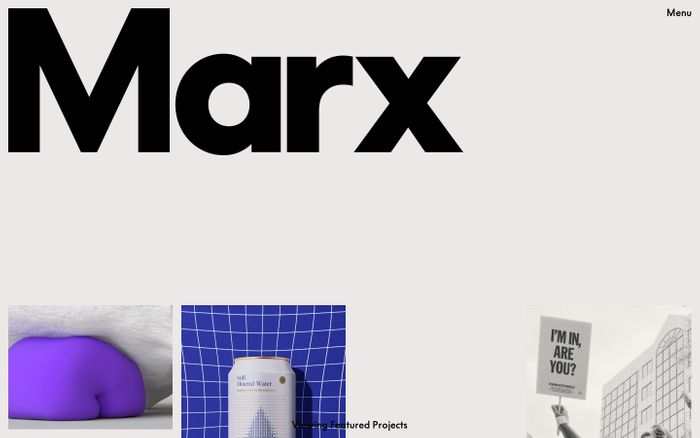 Screenshot of Marx design website