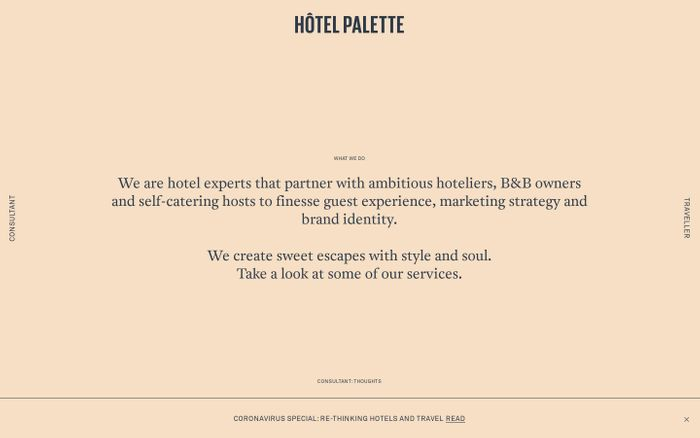 Screenshot of Hotel Palette website