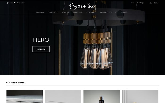 Screenshot of Buster + Punch | Home Fashion Label website