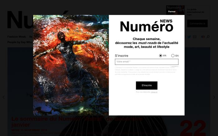 Screenshot of Numéro Magazine | Mode, Art, Lifestyle, Beauté,...