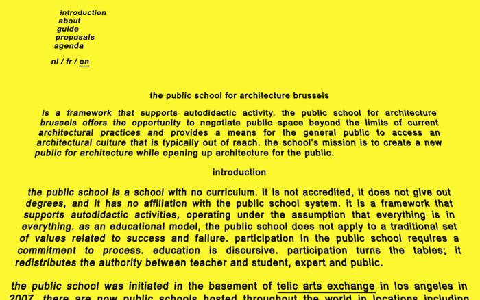 Screenshot of the public school for architecture brussels –