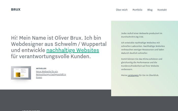 Screenshot of Designbüro für nachhaltiges Webdesign aus Schwelm | BRUX