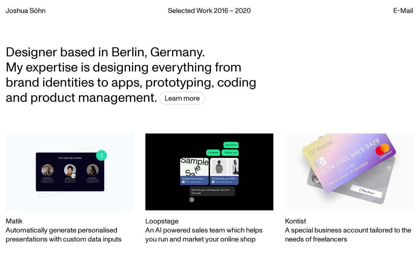 Screenshot of Joshua Söhn website