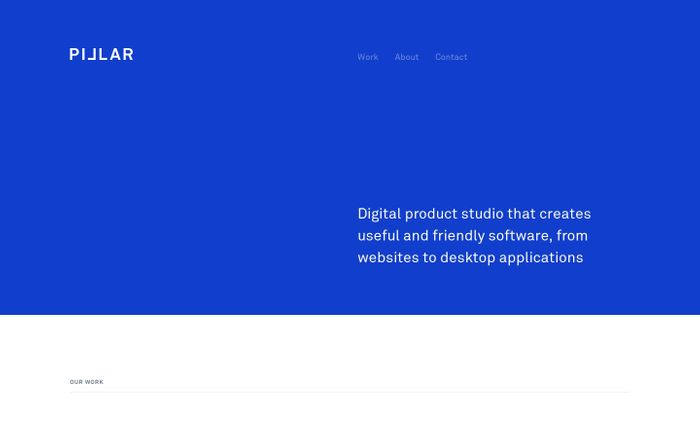 Screenshot of Pillar - Web design and development studio creating websites and web applications