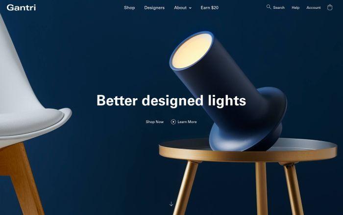 Screenshot of Gantri   Designer 3D printed lights