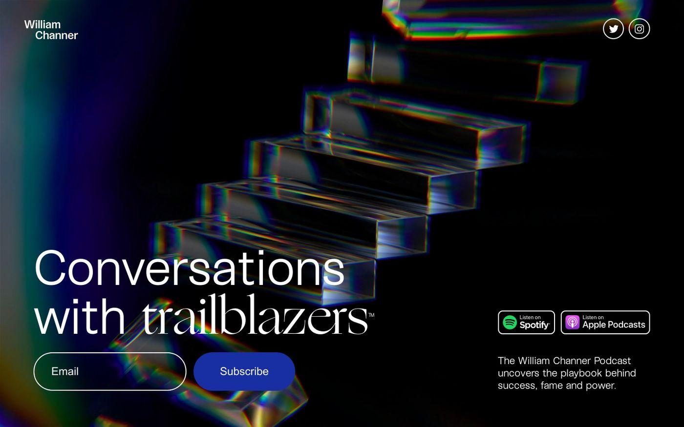 Screenshot of William Channer podcast website